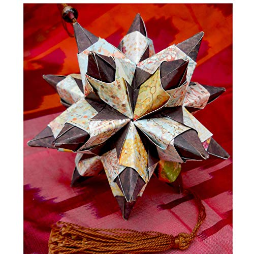 Pastel & Dark Chocolate Contrast Large Paper Origami Star Christmas Ornament, Holiday Decor Gift