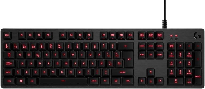Logitech G413 Teclado Gaming Mecánico, Teclas Retroiluminadas, Teclas Romer-G Táctil, Aleación de Aluminio 5052, Personalizable, Conexión de Paso de USB, Disposición QWERTY Español, Carbón