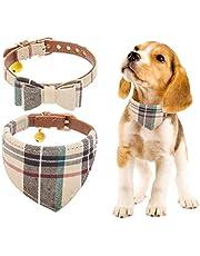 BINGPET 2 stuks verstelbare bowtie kleine hondenhalsband en geruite bandana kraag met bel leer voor puppy's honden en katten