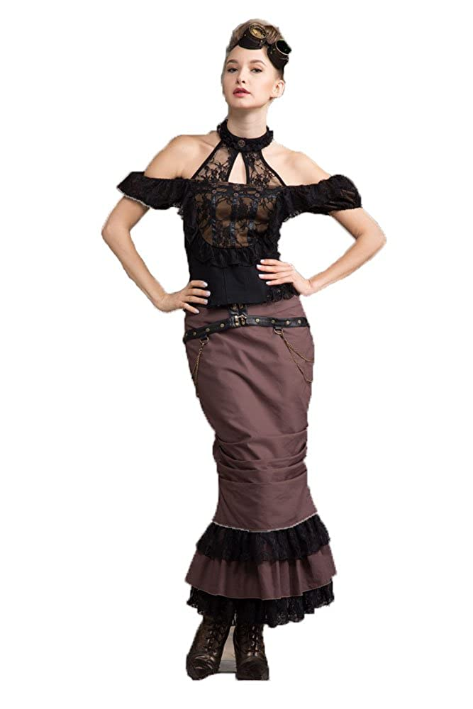 Gothic Ladies Lace Victorian Retro Asymmetric Party Falda ...