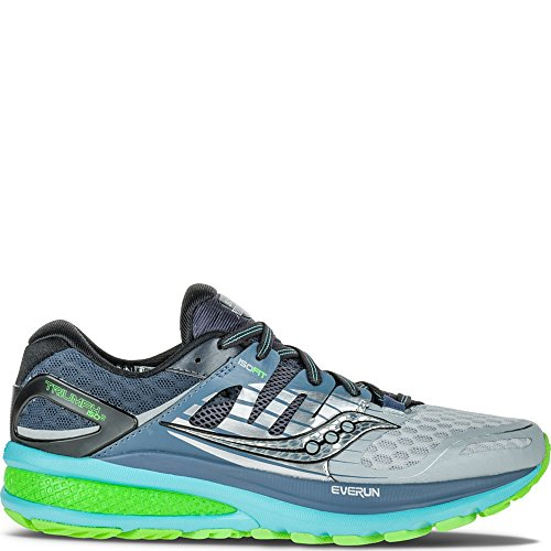 Saucony Women's Triumph ISO 2 Running Shoe, Grey/Blue/Slime, 9.5 M US ()