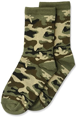 (K. Bell Boys' Big Novelty Crew, Olive Camouflage, Shoe Size:)
