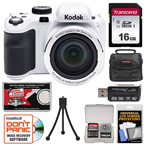 KODAK PIXPRO AZ421 Astro Zoom Digital Camera (White) with 16GB Card + Case + Flex Tripod + Kit