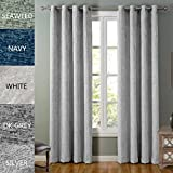 COFTY Lydia Collection Solid Blackout Polyester Chenille Velour Shaggy Curtain Drapes(1 Panel) - Anti Bronze Grommet - Silver - 150Wx102L Inch (1 Panel)