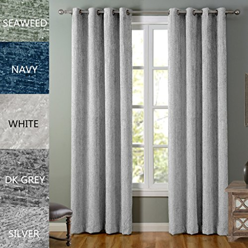 COFTY Lydia Collection Solid Blackout Polyester Chenille Velour Shaggy Curtain Drapes(1 Panel) - Anti Bronze Grommet - Silver - 84Wx96L Inch (1 Panel) (Solid Denim Drapes Black)
