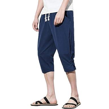Pantalones De Yoga, YanHoo Hombre Pantalones De Lino Cintura ...
