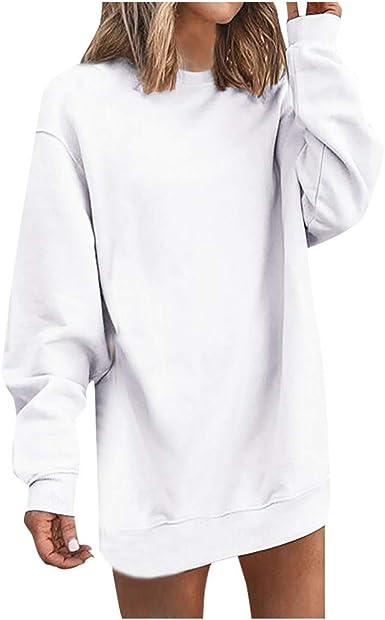 Sudaderas para Mujer Largas sin Capucha Otoño PAOLIAN Vestidos Mujer Corto Manga Larga Invierno Sudaderas Casual Anchas Sweatshirt Hoodies Top Camisetas Mujer: Amazon.es: Ropa y accesorios