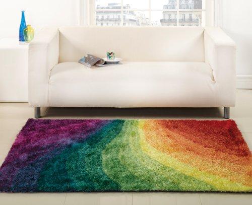 Sehr große Quality Rug House Designerteppich Shaggy, Wirbeldesign, in Regenbogenfarben, 160 x 220 cm (5 x 7 '7.62 cm - 10.16 cm), Teppich