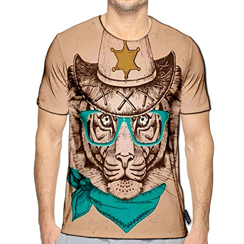 3D Printed T-Shirts Hipster Animal Tiger Muzzle of Short Sleeve Tops Tees c