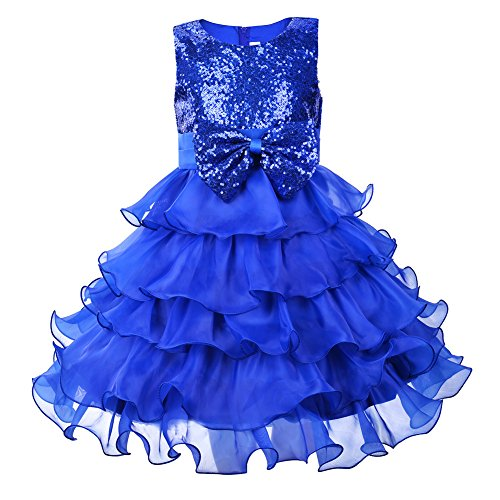 Okidso Girl Dress Kids Ruffles Sequin Organza Party Wedding Dresses All Season Gear  51 2 130Cm 6 7Years   Blue