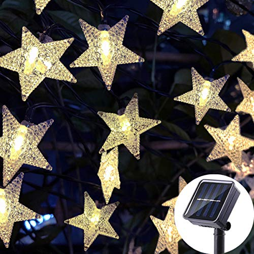 (Huacenmy Solar Star String Lights 30ft 50LED Outdoor Solar Powered Garden Twinkling Fairy Lights, Warm White Path Lights for Garden Porch Patio Decor Home Wedding Party Christmas Tree Decoration)