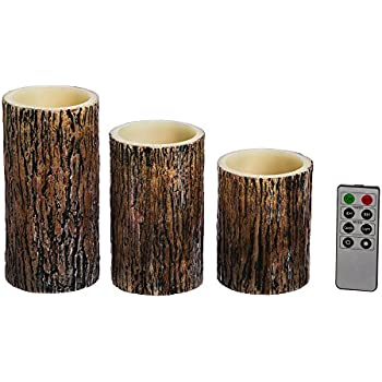 Cypress Home Tree Bark Battery Operated Flameless LED Wax Pillar Candle with Remote, Set of 7