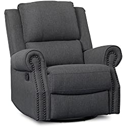 Delta Children Dylan Nursery Recliner Glider Swivel Chair, Charcoal