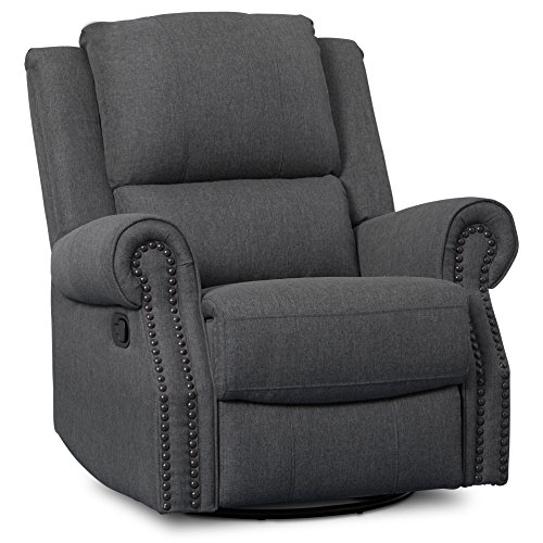Delta Children Dylan Nursery Recliner Glider Swivel Chair, Charcoal by Delta Children