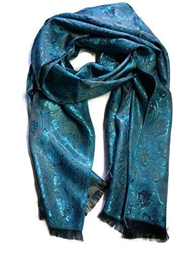 New 100% Thai Silk Scarf Shawl Wrap Flower Blue Grey 74