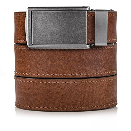 Top Grain Walnut Leather Belt with Graphite Buckle
