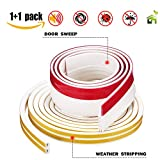 weather seal for front door - Weather Stripping Tape + Sliding Under Door Sweep kit Tool Bottom Seal Draft Draught Excluder Stopper Self Adhesive for Windows Threshold Cracks Gaps Anti-Collision Weatherproof Rubber