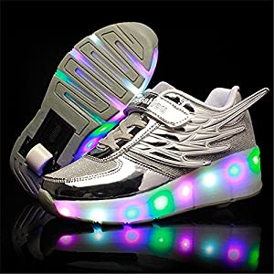 Boy Girl Roller Shoes with Light Flashing Wheels Skate Sneaker for Kids Teens with Wings ?silver 13 M US Little Kid?