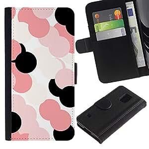 KingStore / Leather Etui en cuir / Samsung Galaxy S5 V SM-G900 / Modelo rosado Blanco Negro