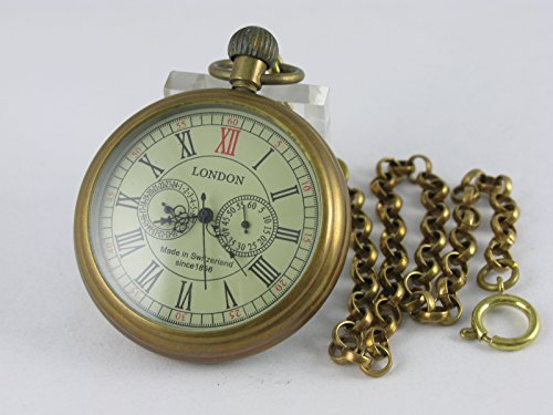 VIGOROSO Men's Vintage Full Copper Hand-wind Mechanical Second&24hours Sub-dials Pocket Watch in box by VIGOROSO (Image #2)