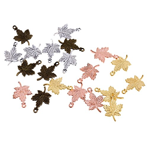 Fityle Wholesale 30pcs Mixed Color Maple Leaf Charm Pendant Beaded Jewelry - Leaf Beaded