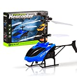 Staron RC Infraed Induction Helicopter,Cheap Mini Flashing Light Flying Aircraft Toys,RC Helicopter Birthday Gift For Kids Teenagers (Blue)