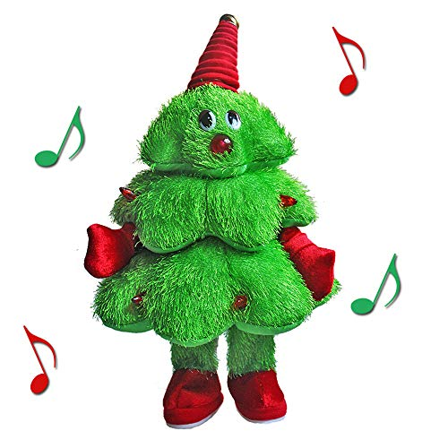 QIUYEJUO Plush Animated Stuffed Toys Electric Musical Christmas Tree Figure,Singing Dancing Light Up Xmas Ornaments for Kids ...