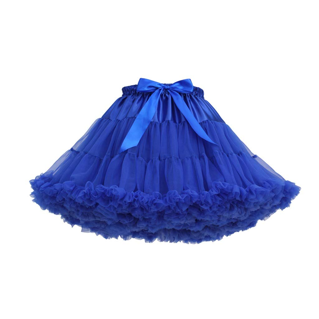 Women's Tulle Skirts A-Line Mini Skirts Fashion Sexy Solid Color Party Dance Ballet Bow Short Tutu Skirts (Free Size, A)