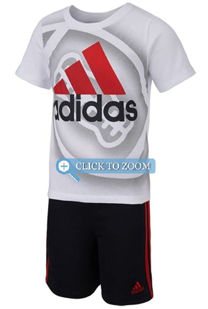 Adidas Boys 2-7 2-Piece ClimaCool¨ Athletic Shorts Set w/ UV Protection (03) White)