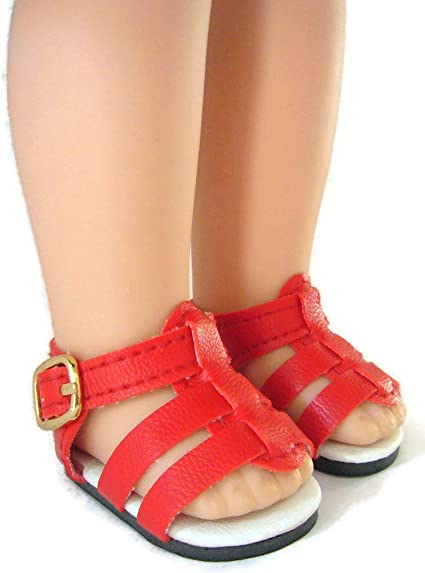 """Red Glitter Flat Shoes for 14.5/"""" American Girl Wellie Wishers Dolls"""