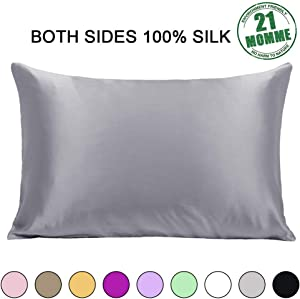 Ravmix 100% Pure Natural Mulberry Silk Pillowcase for Hair and Skin Queen Size, 21 Momme 600TC Hypoallergenic Both Sides Soft Breathable with Hidden Zipper, 20×30 inches, 1-Pack, Lilac Grey