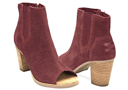 Toms Majorca Peep Toe Booties Oxblood Perforated Suede 10009323 Womens 9.5