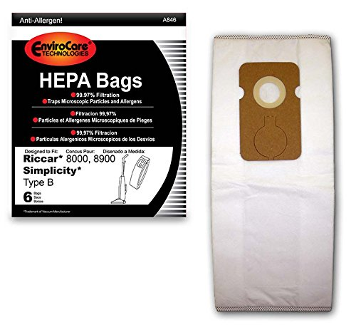 Envirocare Riccar Type B Bags for 8000, 8900 HEPA w/closure (Types Filtration Micro Bags Vacuum)