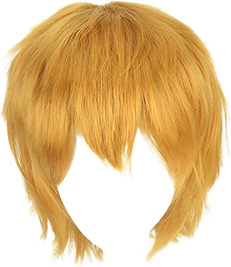 Women Short Gold Straight Bob Wig Pixie Cut Wig Synthetic Hair Cosplay Full Wigs
