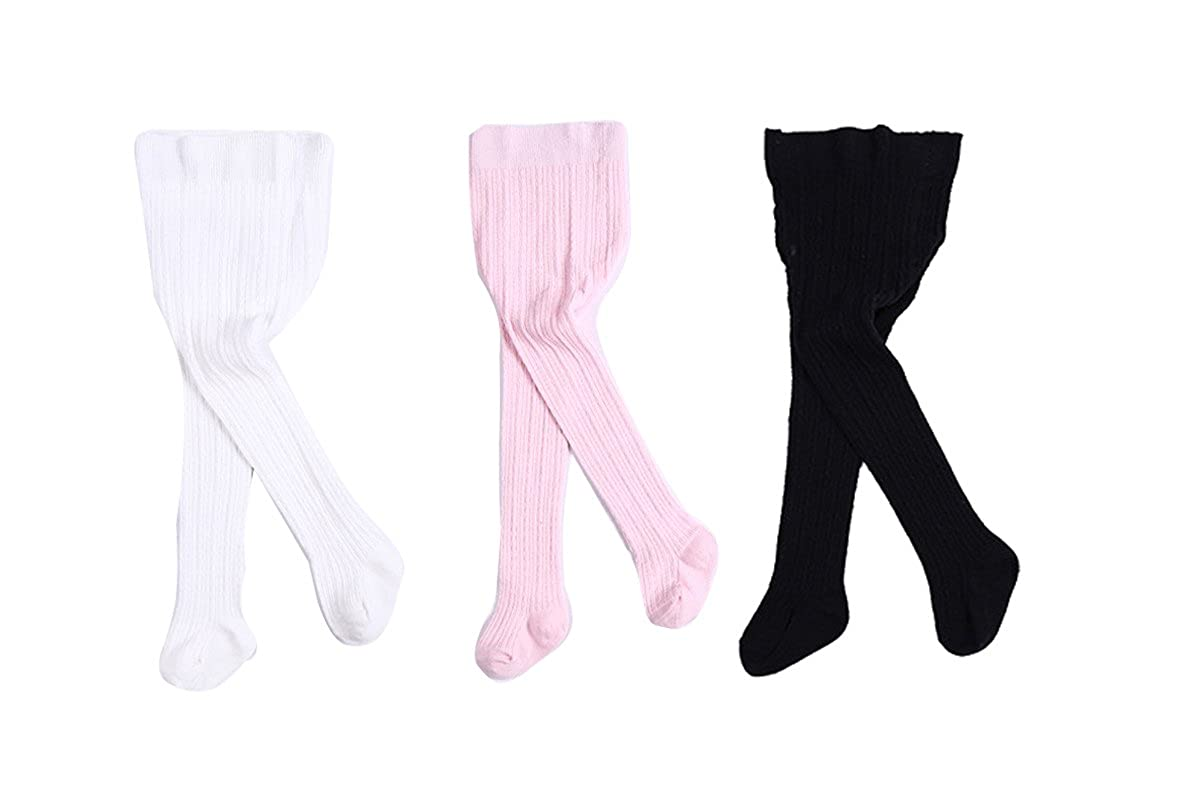 YallFairy 3 PACK Baby Kids Girls Cable Knit Tights Leggings Stocking Pants
