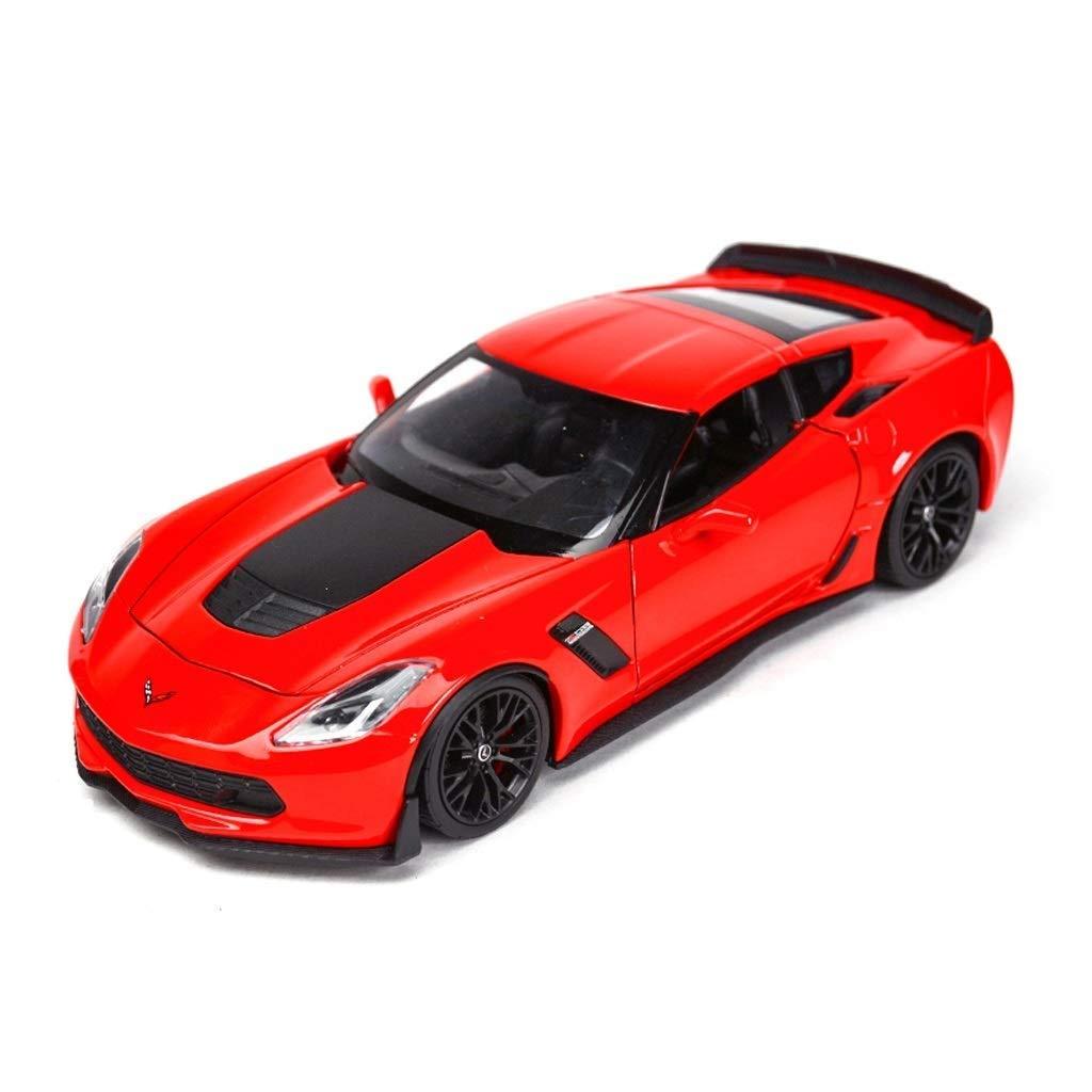 rot Maisto Modell Auto 1 24 Simulation 2017 Corvette Z06 Modell Alloy Diecast Pull Car Spielzeug Geschenk Spielzeug Simulation Miniaturmodelle Fahrzeuge (Farbe   rot)