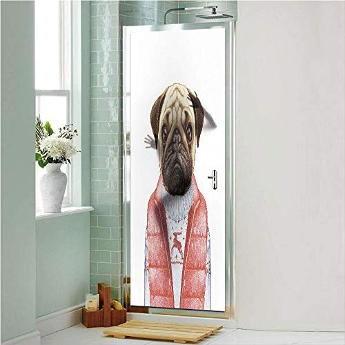 Pug 3D No Glue Static Decorative Privacy Window Films, Red Vest and Christmas Sweater on a Adorable Dog Hand Drawn Animal Fun Image,17.7