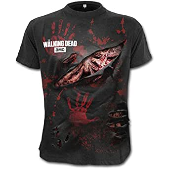 Spiral - Mens - RICK - ALL INFECTED - Walking Dead Ripped T-Shirt Black - S