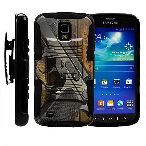 Galaxy S4 IV Case, Holster Double Layer Combo Armor w/ Kickstand - Firearm Designs - for Samsung Galaxy S4 IV Active I9295, SGH-I537 by MINITURTLE - Black Gun #2