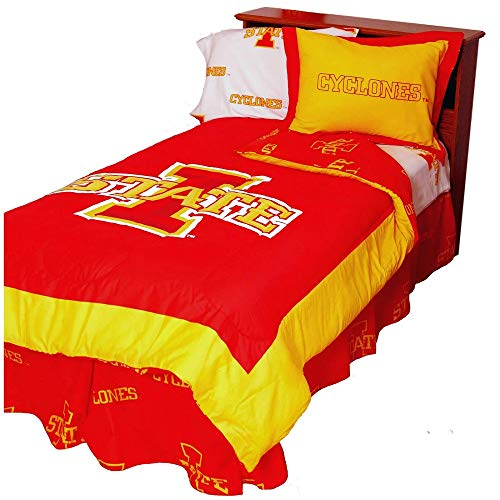 2 Pc NCAA University of Iowa State Cyclones Comforter Twin Vibrant Box Stitch Design Team Logo Printed Basket Ball Boys Bedding Trendy Sports Patterned Look Lightweight Reversible Red Comforter Set