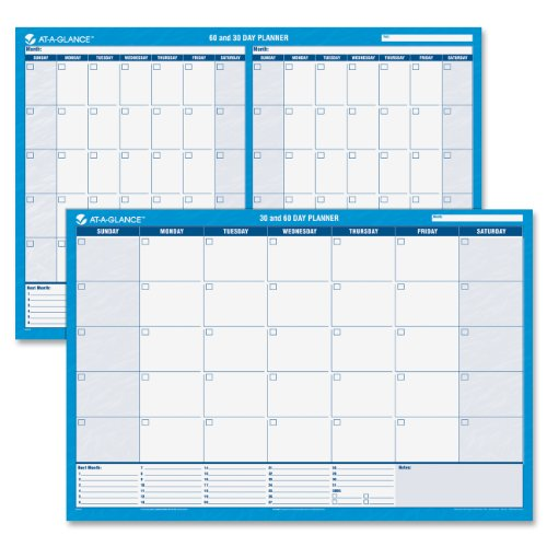 AT-A-GLANCE Wall Planner / Calendar, Undated, Erasable, 30/60-Day, 36 x 24, White/Blue (Undated Erasable Wall)