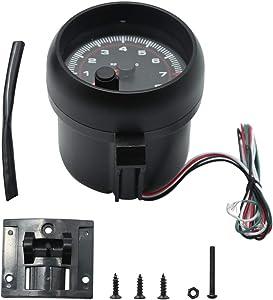 Tachometer Gauge RPM White LED Black Backlit 8k Tach Gauge,0-8000 RPM