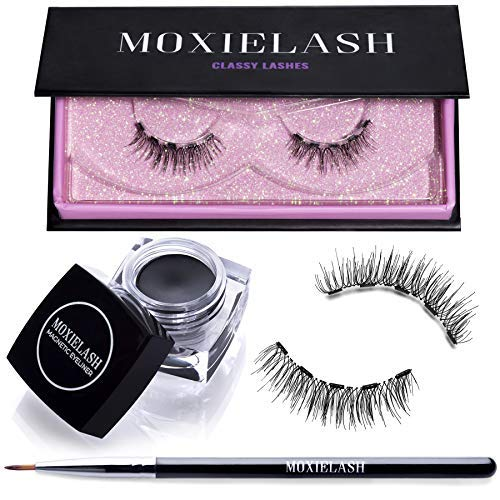 MoxieLash Classy Bundle - Magnetic Gel Eyeliner for Magnetic Eyelashes - No Glue & Mess Free - Fast & Easy Application - Set of Classy Lashes & Brush Included ()