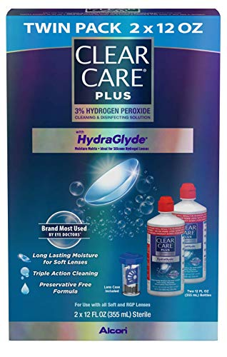51Szm9hBQvL - Clear Care Plus Cleaning and Disinfecting Solution with Lens Case, Twin Pack, 12-Ounces Each