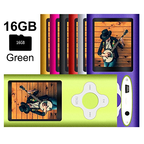 G.G.Martinsen Green Versatile MP3/MP4 Player with a 16GB Micro SD card, Support Photo Viewer, Radio and Voice Recorder, Mini USB Port 1.8 LCD, Digital MP3 Player, MP4 Player, Video/ Media/Music Player