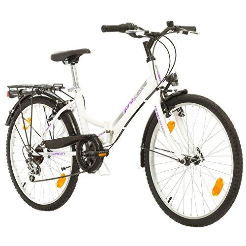 Multibrand, Folding City 24 Lady, 24 Pulgadas, 457 mm, Bicicleta de montaña Plegable, 18 velocidades, para Mujeres, niña, Guardabarros Delantero y Trasero, Lustre Blanco Lilac-Gris a buen precio