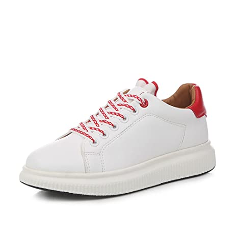 Fashion Breathable Flat Shoes White Women Lace-up Casual Sports Skateboarding Shoes ( Color : White  Size : 37 )