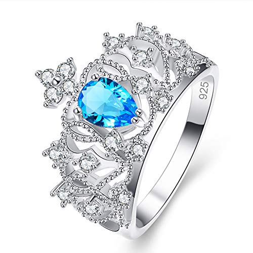 PAKULA Silver Plated Women Simulated Blue Topaz Filligree Tiara Crown Ring Band Size 6