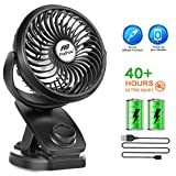 Battery Operated Clip on Stroller Fan - 40 Hours Portable Mini Desk Fan with Rechargeable 4400mA Battery, USB Powered Auto Oscillating Fan for Baby Stroller Office Outdoor Travel (2019 Upgrade)