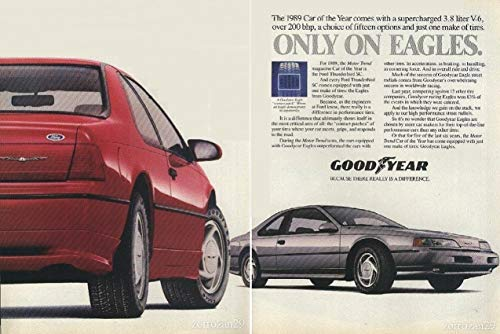 """1989 GOODYEAR EAGLE TIRES THUNDERBIRD""""CAR OF THE YEAR"""" VINTAGE COLOR AD - DOUBLE PAGE - EXCELLENT ORIGINAL !!"""